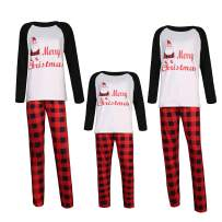 Bigzzia Matching Christmas Pajamas, Family Festival Santa Letter Print Lattice Sleepwear Clothes Sets for Home