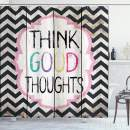 """Ambesonne Saying Shower Curtain, Think Thoughts Message with Rainbow Colored Letters on Chevron Zigzag Lines, Cloth Fabric Bathroom Decor Set with Hooks, 70"""" Long, White Pink"""
