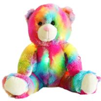 Wewill Colorful Rainbow Teddy Bear Stuffed Animals with LED Night Light Plush Toys Gift for Kids on Birthday Christmas, 12-Inch
