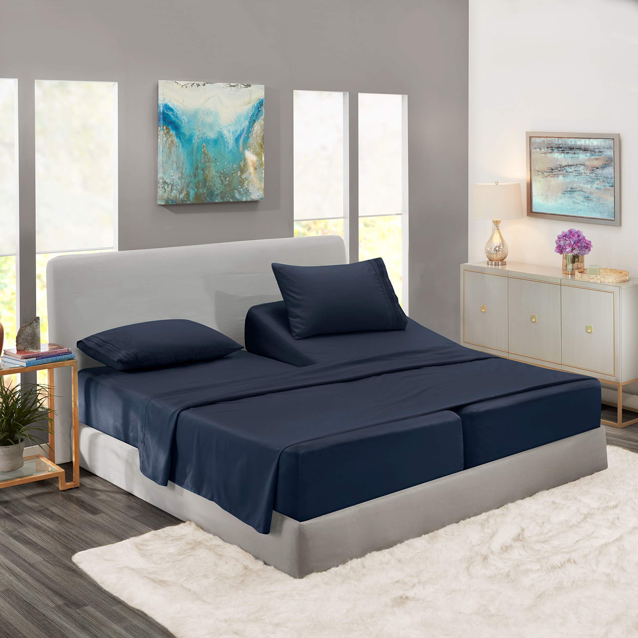 Nestl Bedding 5 Piece Sheet Set - 1800 Deep Pocket Bed Sheet Set - Hotel Luxury Double Brushed Microfiber Sheets - Deep Pocket Fitted Sheet, Flat Sheet, Pillow Cases, Split Cal King - Navy Blue