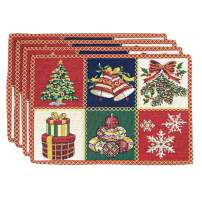 """Homvare Christmas Holiday Placemats for Home Decoration Heat Resistant Washable - 13""""x19""""- Set of 4 - Patchwork"""