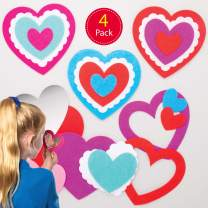 Baker Ross AT554 Heart Pocket Mirror Kits — Creative Valentine's Day Art and Craft Supplies for Kids to Make and Decorate (4 Pack)