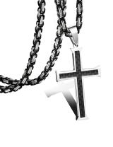 FIBO STEEL Stainless Steel Cross Pendant Mens Byzantine Chain Necklace 5mm Wide, 22-30 inches