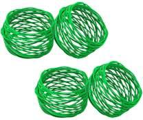 SKAVIJ Metal Mesh Napkin Rings Set for Dining Table Decoration (Dia-2 Inch, Pack of 4, Green)