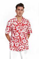 Hawaii Hangover Hawaiian Shirt Aloha Shirt in Classic Hibiscus Red