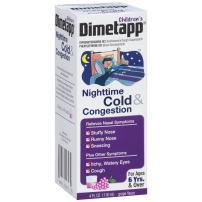 Children's Dimetapp Nighttime Cold & Congestion (4 fl. oz. Grape Flavor), Nasal Decongestant & Antihistamine/Cough Suppressant, Ages 6+