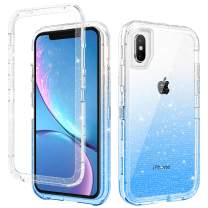 DOMAVER iPhone Xs Case, iPhone X Case Sparkle Three Layer Heavy Duty Hybrid Hard PC Flexible TPU Bumper Shockproof Color Changing Phone Case Cover iPhone Xs/X Protective Case with Blue Glitter Design