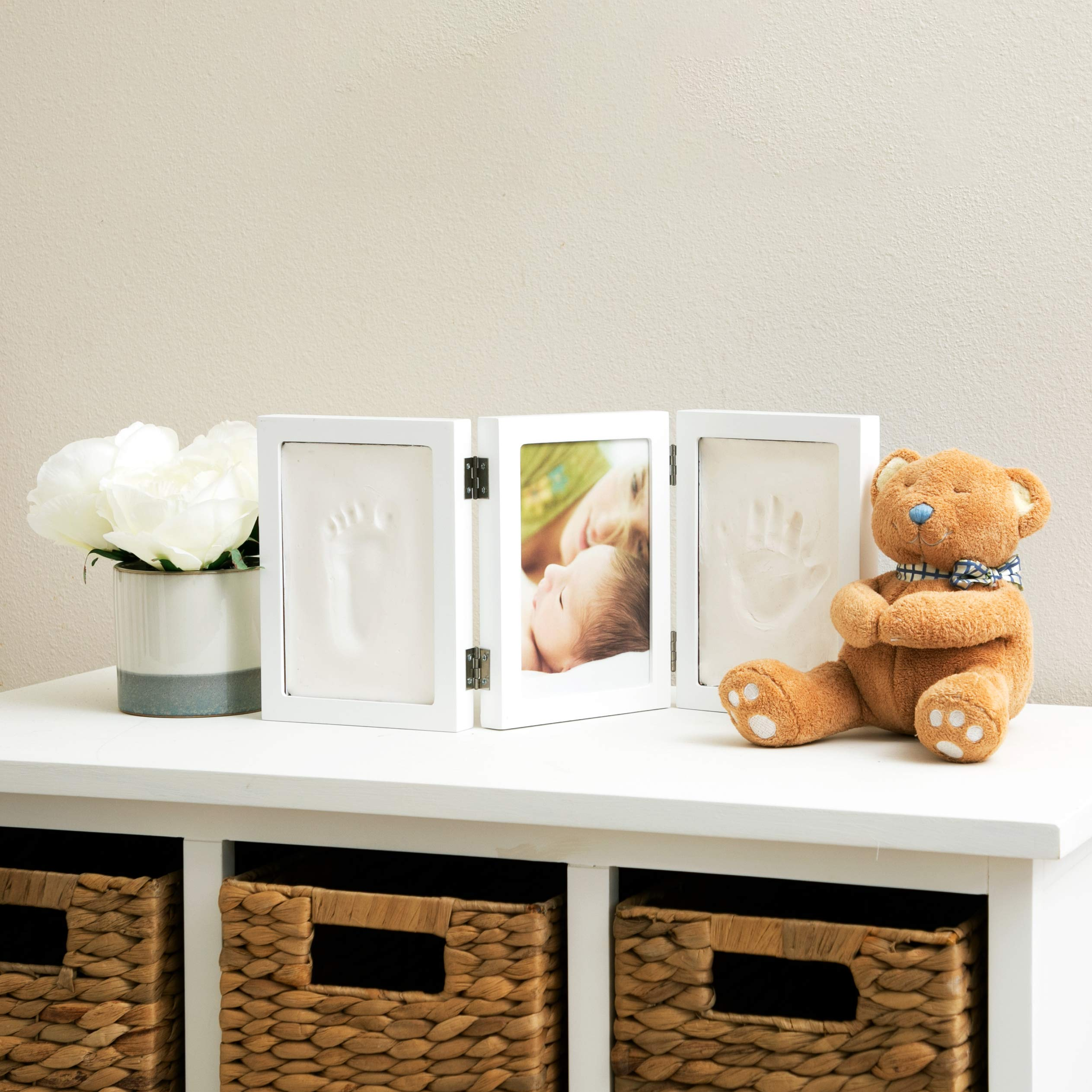 """Nuby Baby Keepsake Classic White Wooden Trifold Frame Kit That Holds One 5 x 7"""" Photo & 2 Clay Print Kits for Newborn Girls & Boys, Personalized Baby Gift"""