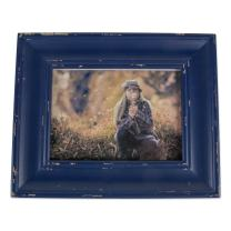 DII Z02190 Rustic Farmhouse Distressed Wooden Picture Frame for Wall Hanging or Desk Use, 8x10, Navy