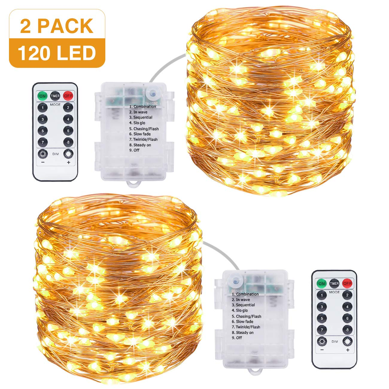 Xmas 50 LEDs Battery Operated Mini LED Copper Wire String Fairy Lights W// Remote