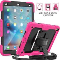 iPad Air 3 Case 2019, SEYMAC [Full Body Rugged Protection] Case with [Stylus Holder] [360 Rotating Hand Strap&Stand] Shoulder Strap Screen Protector for iPad Air 3 2019/iPad Pro 10.5 2017-Pink/Black