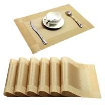 U'Artlines Placemat, Crossweave Woven Vinyl Non-Slip Insulation Placemat Washable Table Mats (Gold, 6pcs placemats)