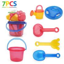 LotFancy Beach Toys for Kids, Sand Toys for Toddlers, Beach Toy Set with Bucket, Sand Sifter Cover, Star Mold, Rake, Watering Can and Sifter Shovel Tool for Kids Summer Outdoor Sandbox Toys