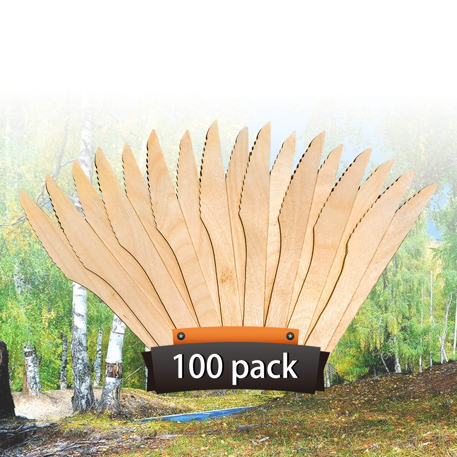 """Wooden Knives Heavyweight Compostable Disposable Wooden Cutlery - KITMA 6.5"""" Natural Birch Wood Environmental Protection Tableware - 100% All Natural, Eco Friendly, Biodegradable (Pack of 100)"""