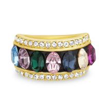 Devin Rose 6mm Multi Color Oval Ring for Women Made with Swarovski Crystals in Yellow Gold Plated Brass (Size 7)