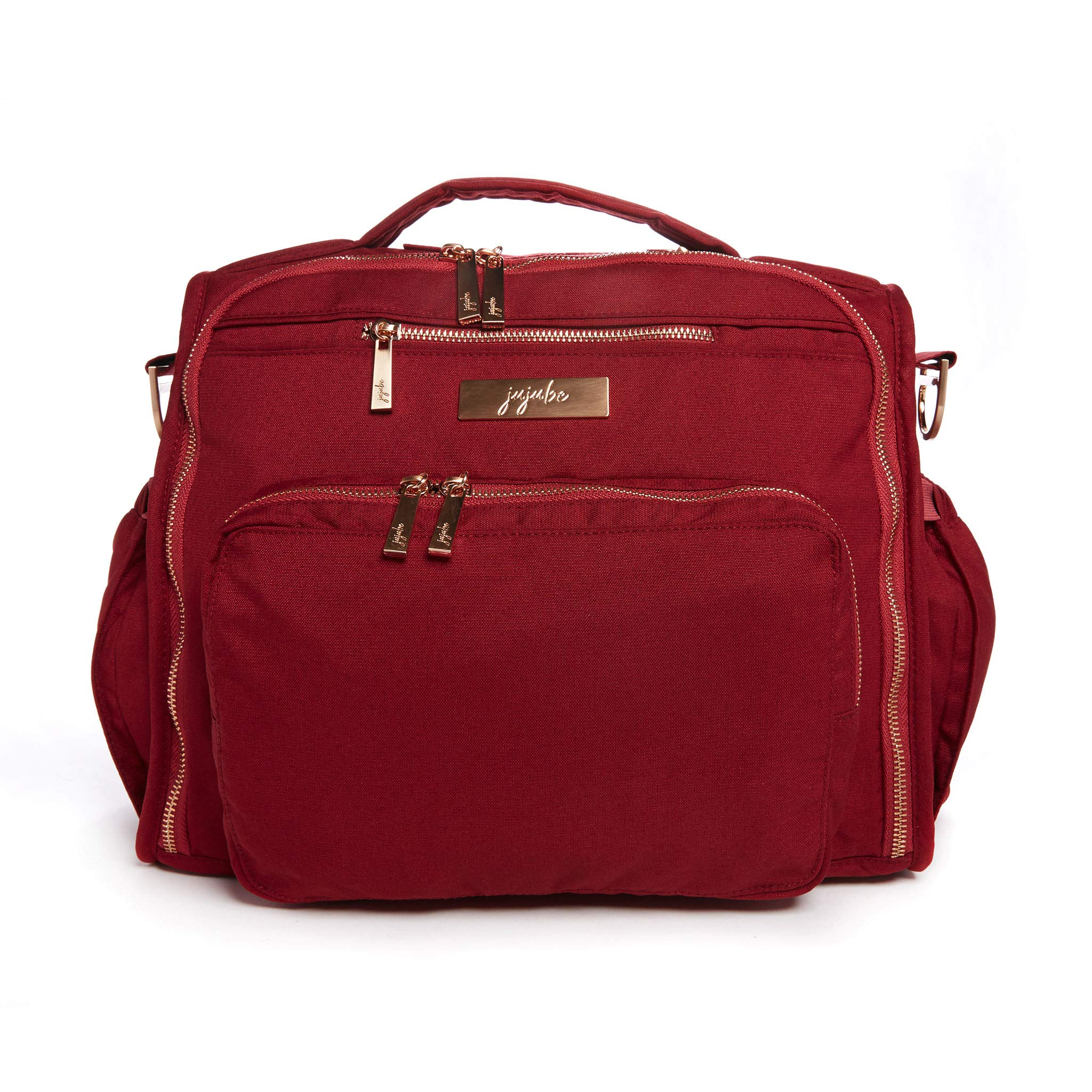 JuJuBe BFF Diaper Backpack   Tibetan Red   Chromatics   Multi-Functional Convertible + Messenger Bag   Travel-Friendly, Stylish Diaper Baby Bag with Laptop Pocket & Memory Foam Shoulder Strap
