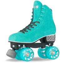 Crazy Skates Evoke Roller Skates for Women - Stylish Suede Quad Skates