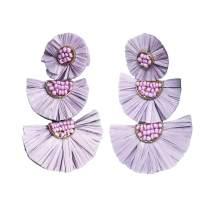Bohemian Statement Earrings - Lightweight Tiered Raffia Beaded Earrings Drop Dangle Gifts for Women Girls