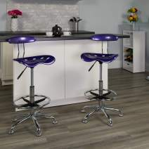 Flash Furniture Vibrant Violet and Chrome Drafting Stool with Tractor Seat