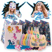 Unicorn Party Supplies and Party favors for kids by Tulatoo - Perfect Goodie Bag For Birthday Parties and Decorations. Contains Slap Bracelets, Unicorn Toys, Masks, Stickers and Hair Ties