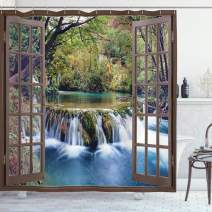 """Ambesonne Waterfall Shower Curtain, Wide Waterfall Deep Down in The Forest Seen from a City Window Epic Surreal Print, Cloth Fabric Bathroom Decor Set with Hooks, 84"""" Long Extra, Forest Green"""