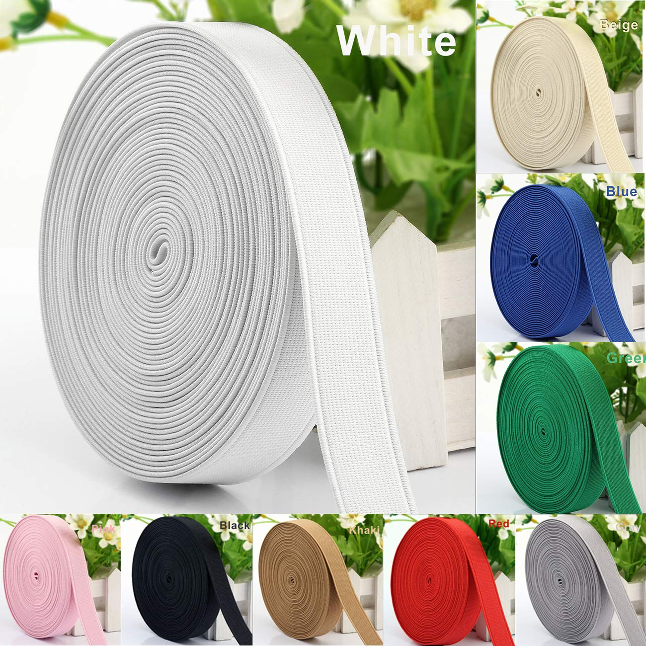 """Multicolors-5 Yards Fold Over Elastic Bands/Elastic Ribbon 3/4"""" Width for Sewing DIY Headbands, Wristbands, or Hair Ties (White)"""