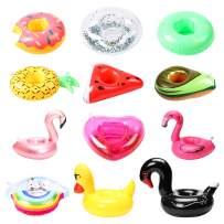 GROBRO7 12Pack Inflatable Pool Drink Holder Fruit Floating Coasters Glitter Swimming Cup Holder Flamingo Duck Water Floats Party Favors Kids Bath Toys for Adult Pool Party Wedding Baby Shower