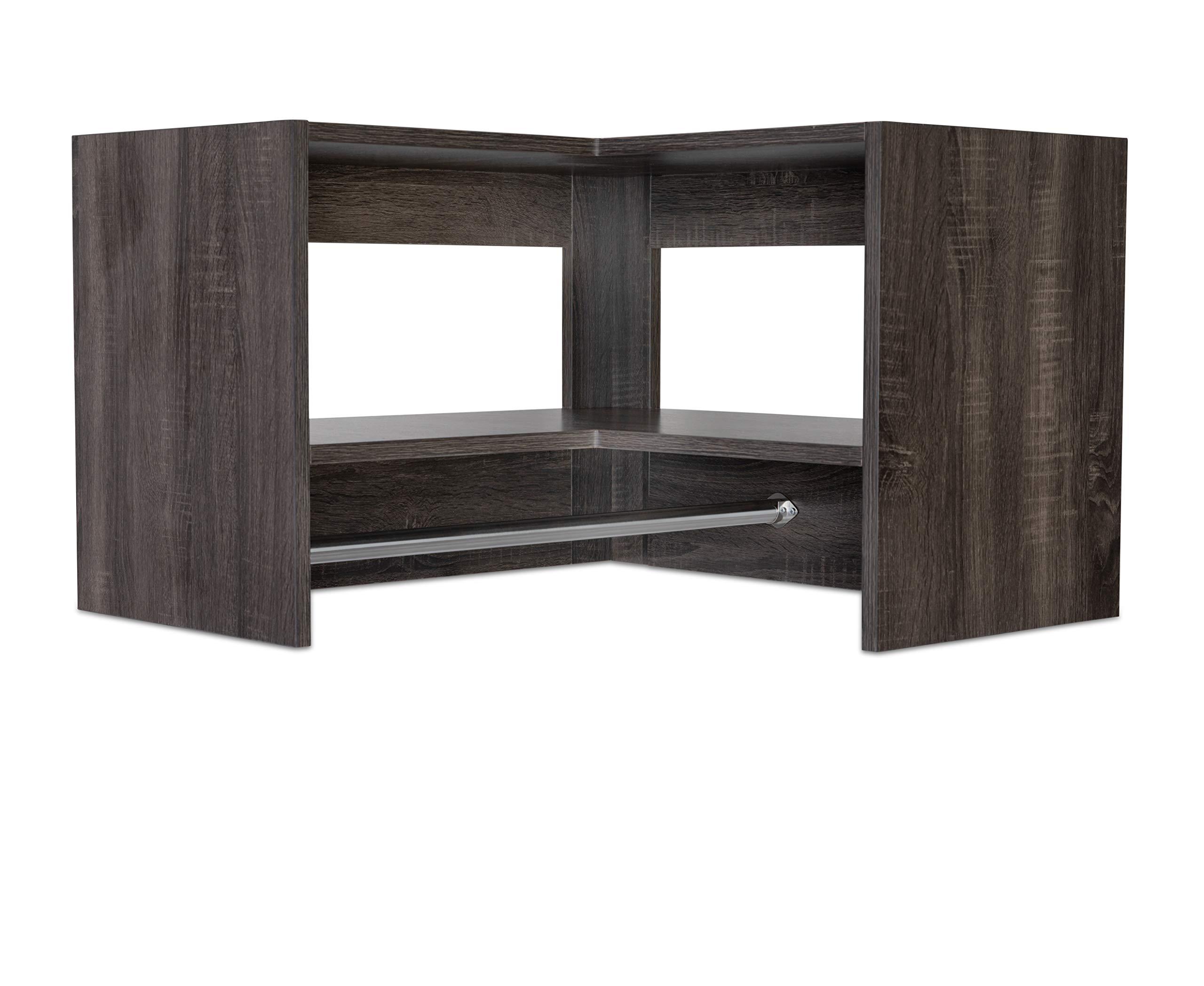 Modular Closets Corner Tall Hanging Wood Closet Organizer (Driftwood Grey)