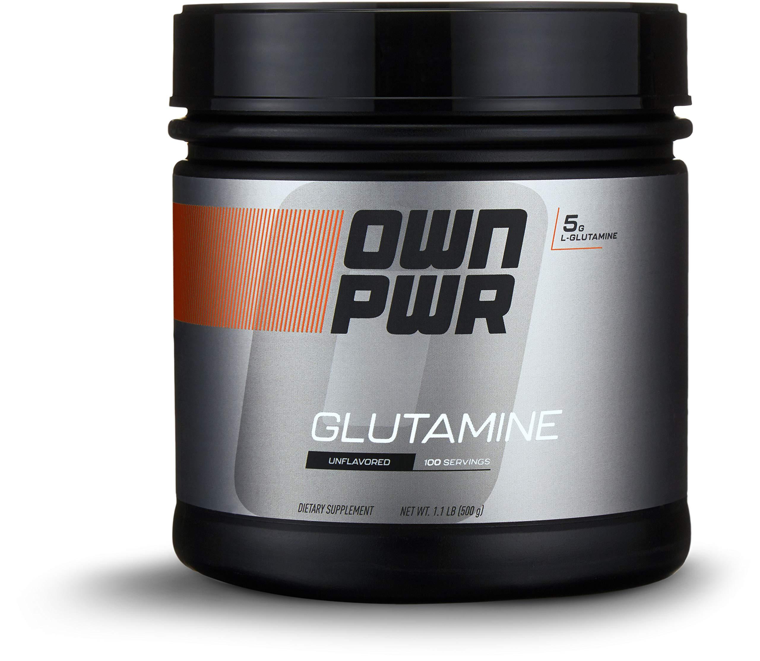 OWN PWR L-Glutamine Powder, Unflavored, 5 G, 1.1 Pound (100 Servings)