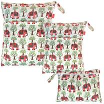 Damero 3pcs Pack Wet Dry Bag for Cloth Diapers Daycare Organizer Bag, Elephants