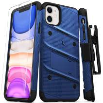 Zizo Bolt Cover - Case for iPhone 11 with Military Grade + Glass Screen Protector & Kickstand and Holster (Blue/Black)