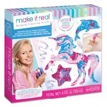Make It Real – Masterpieces Paint Pouring - Acrylic Paint Pouring Kit for Kids - Arts and Crafts Kit to Create Marbling Art - Kids Painting Supplies with Acrylic Paint and Glitter