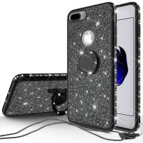 SOGA Diamond Bling Glitter Cute Phone Case with Kickstand Compatible for iPhone 8 Case, iPhone 7 Case,Rhinestone Bumper Slim with Ring Stand Girls Women Cover for iPhone 7/iPhone 8 Phone Cover Black