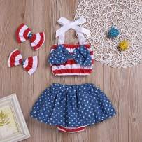 Kids Toddler Baby Girl 4th of July Outfits American Flag Tank Top + Bloomer Tutu Skirt Shorts Summer Clothes Set Blue