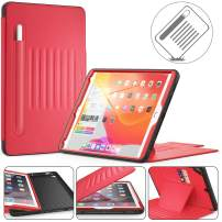 Timecity iPad Pro 9.7 2017/2018 Case, iPad 6th/5th GenCase,Very Protective But Convenient Magnetic Stand Smart Sleep/Wake Elastic Pencil Pocket Card Holder Cover for iPad Air 2 - Red
