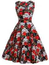 FAIRY COUPLE 50s Vintage Retro Floral Cocktail Swing Party Dress with Bow DRT017(S, Red Skull)