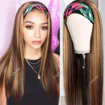 Headband Wigs Brown to Honey Blonde Highlights Human Hair None Lace Front Wigs Brazilian Vigin Headband Scarf Wigs Machine Made Remy Hair Wigs for Women (20 inch) 150% Density