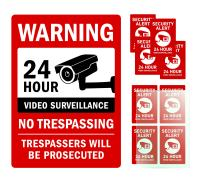 Kubik Letters Video Surveillance Sign Complete Pack: Warning 24 Hour No Trespassing, 4 mm (160 mil) Thick Aluminum Composite Panel with Reflective Vinyl Free 8 Pack Vinyl Decals