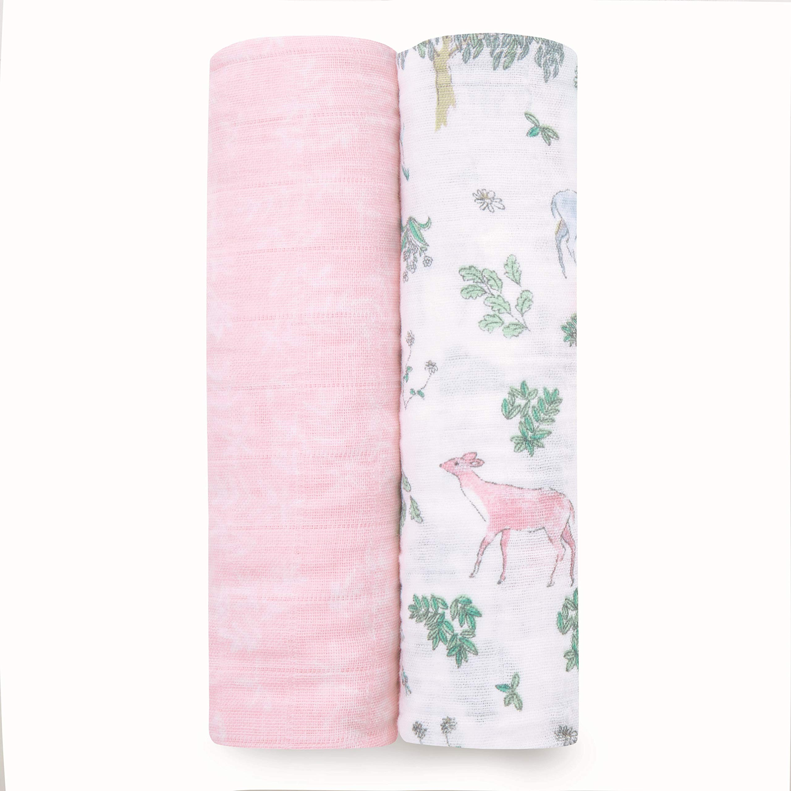 aden + anais Swaddle Blanket | Boutique Muslin Blankets for Girls & Boys | Baby Receiving Swaddles | Ideal Newborn & Infant Swaddling Set | Perfect Shower Gifts, 2 Pack, Forest Fantasy