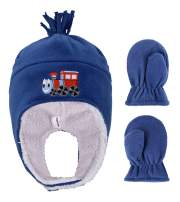 Kids/Toddlers Polar Fleece with Embroidered Winter Set Hat and Mittens