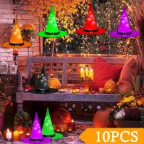 N&T NIETING Halloween Decorations LED Lighted Witch Hats, 10Pcs Hanging Glowing Witch Hats 43ft Halloween Outdoor String Lights Battery Powered with 8 Lighting Modes for Outdoor, Garden, Yard, Tree