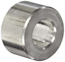 "Round Spacer, Aluminum, Plain Finish, #10 Screw Size, 3/8"" OD, 0.192"" ID, 3/16"" Length, Made in US (Pack of 10)"