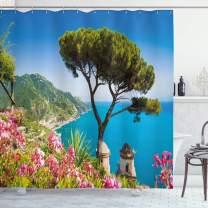 "Lunarable Amalfi Coast Shower Curtain, Scenic Picturesque Panoramic Vista of Sea and Villa Rufolo Gardens, Cloth Fabric Bathroom Decor Set with Hooks, 70"" Long, Multicolor"