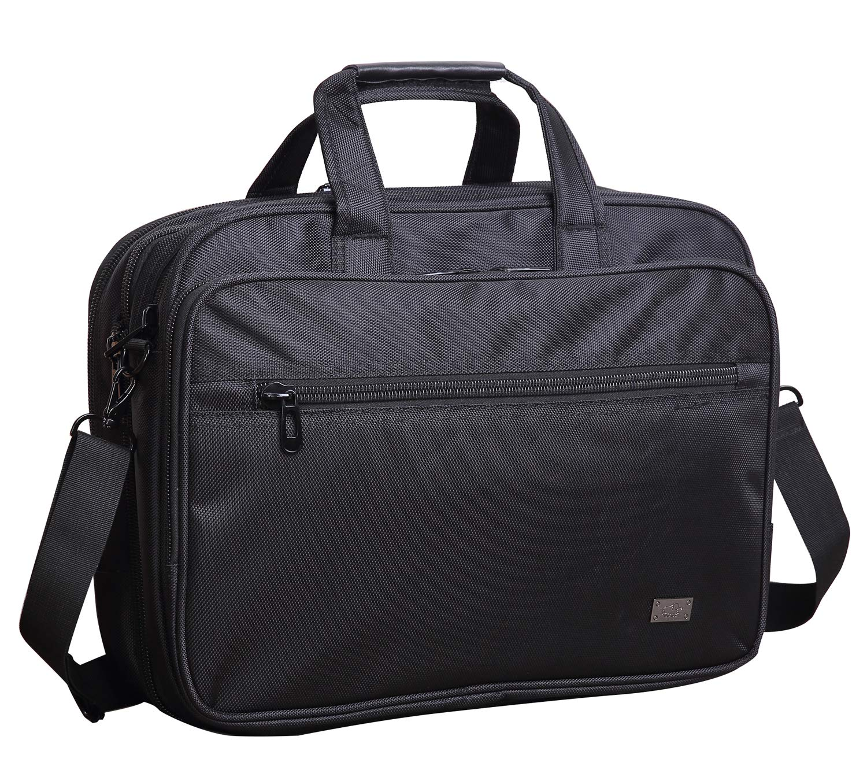 BISON DENIM Expandable Briefcase 15.6 Inch Laptop Messenger Bag Business Work Handbag Water Resistant Computer Carrying Case for Men Women (Black)
