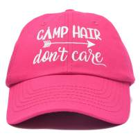 DALIX Camp Hair Don't Care Hat Dad Cap 100% Cotton Lightweight in Hot Pink