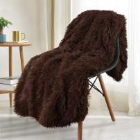 Noahas Shaggy Longfur Throw Blanket with Sherpa Warm Underside, Super Soft, Cozy Large Plush Fuzzy Faux Fur Blanket, Washable Couch or Bed Throws Christmas Decorative Gift Ideal 60x80, Brown