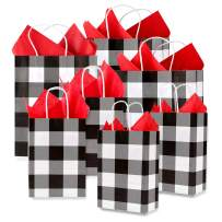 """Whaline 24 Pack Paper Bags with 24 Sheets 14"""" x 14"""" Red Tissue Paper, Gift Wrapping Set for Christmas, Wedding, Birthday Party, Gift Giving (White and Black Plaid)"""