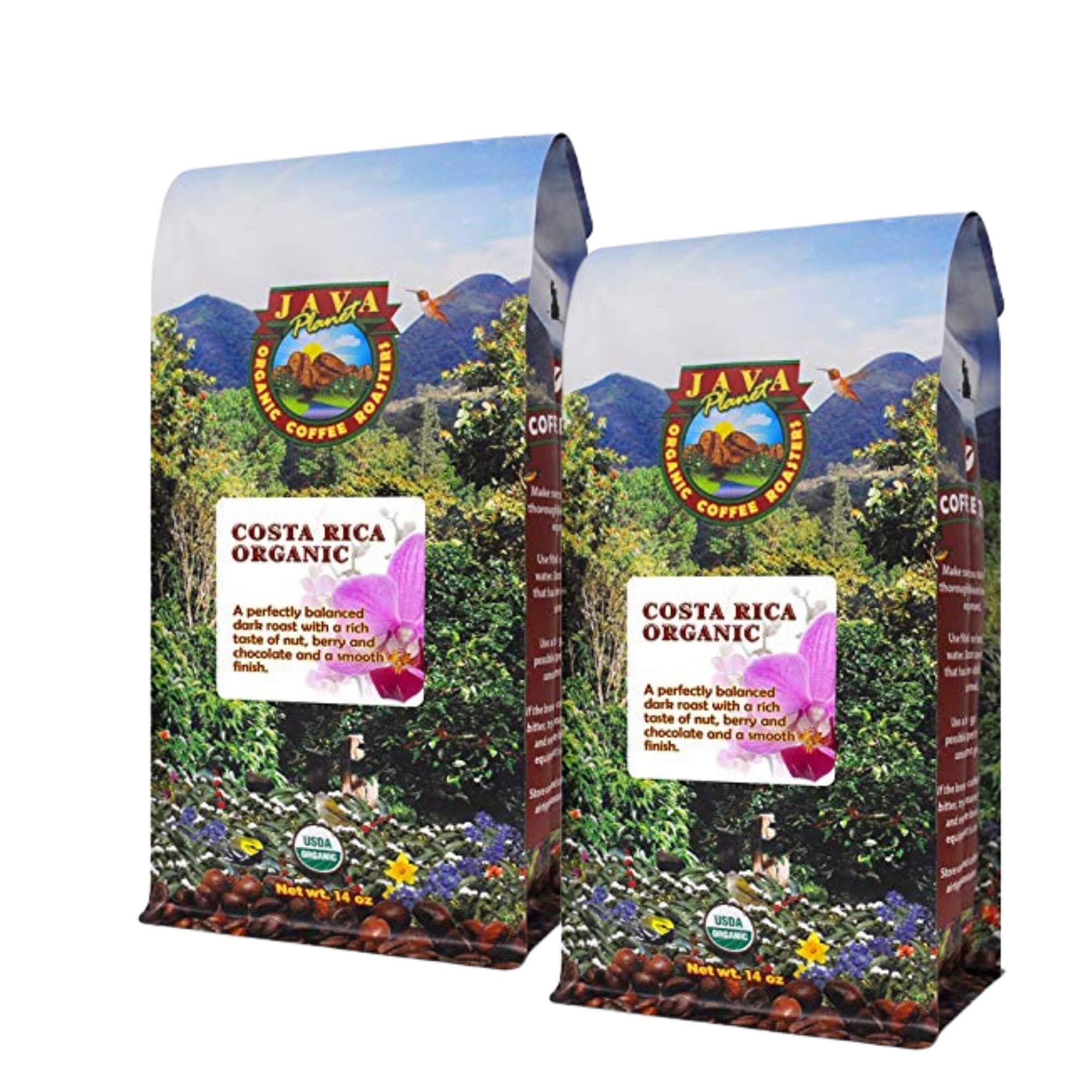 Java Planet, Organic Coffee Beans, Costa Rica Single Origin, Gourmet Dark Roast of Arabica Whole Bean Coffee, Certified Organic, Grown at High Altitudes, 2 14oz bags