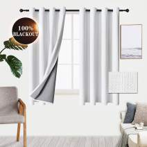WONTEX 100% White Blackout Curtains for Bedroom - Winter/Summer Thermal Insulated Noise Reducing and Sun Blocking Faux Linen Window Grommet Curtain Panels for Living Room, 52 x 45 inch, Set of 2