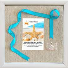 """12x12"""" White Display Shadow Box Frame with 8 Push Pins and a Linen Background - Ready To Hang Shadowbox Picture - Easy to Use - Box Display, Baby, Sports Uniforms, Military Medals, Pins, Wedding."""